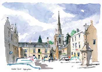 A large picture of Market Square, Uppingham