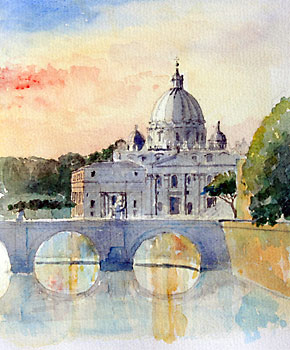 A large picture of St Peter's Basilica
